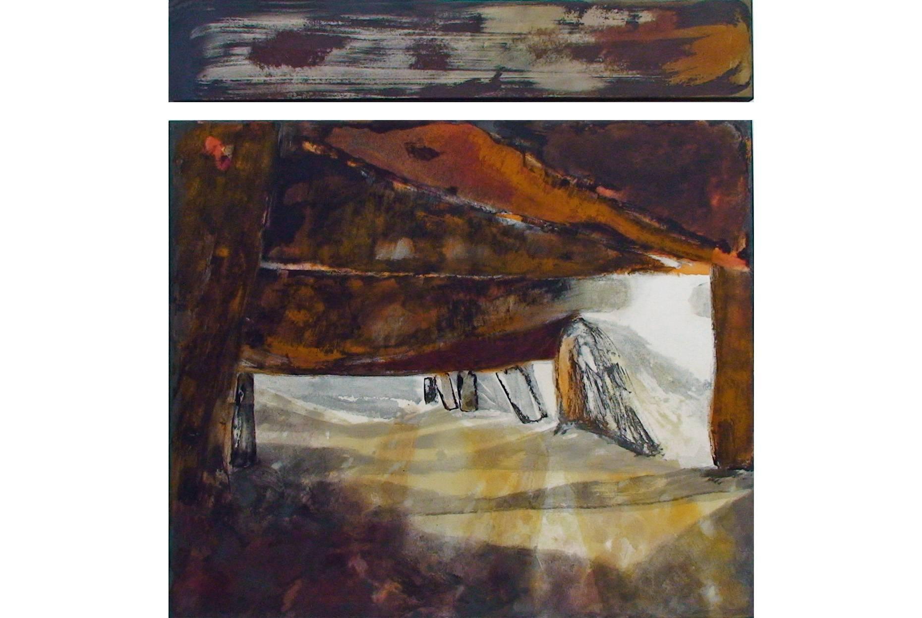 Fundus/Unterbau II 2000 Acrylfarbe a/Nessel 2 tlg. zus.110 x 105 cm
