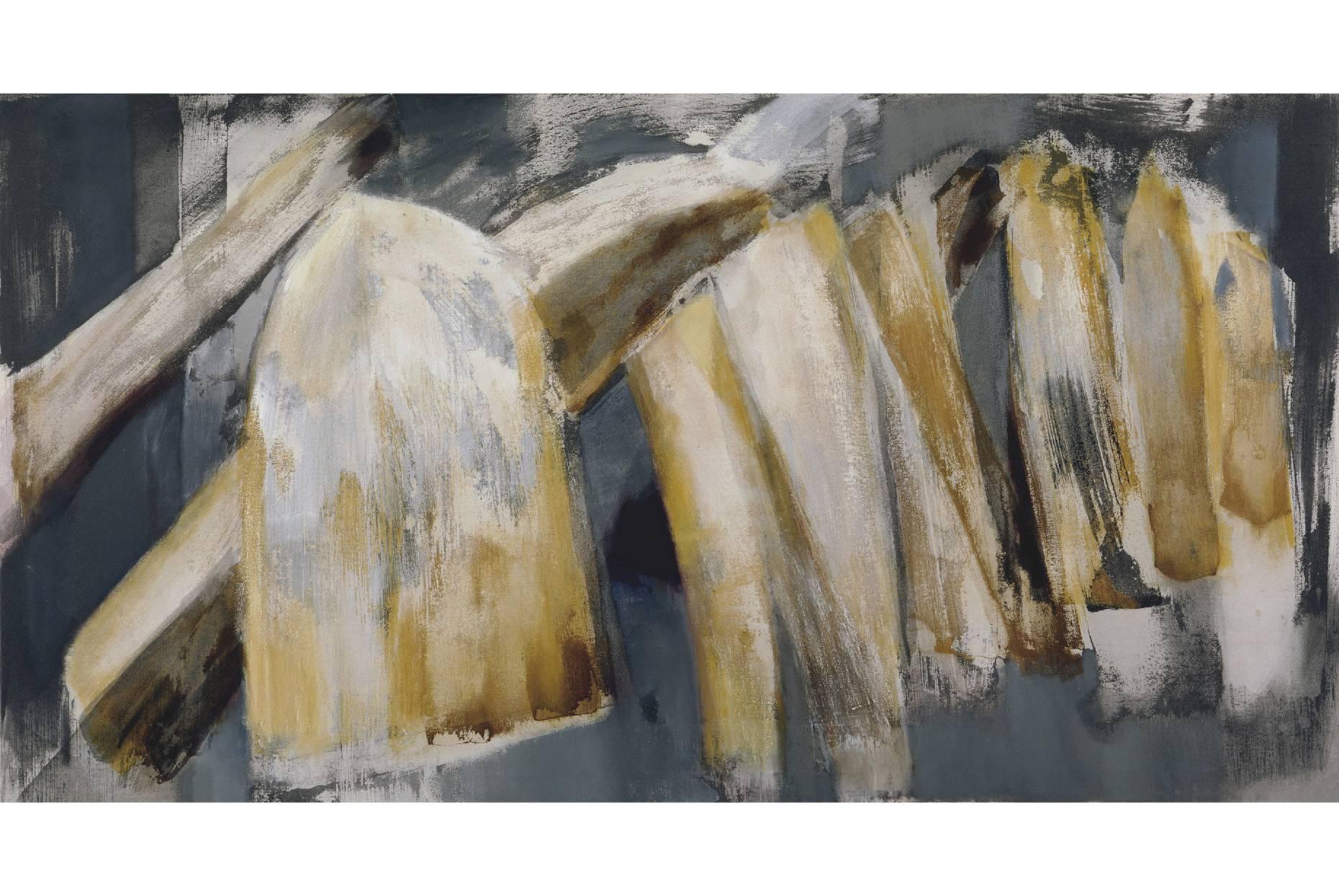 Fundus/Mitteilung 1997 Acryl und Oel a/Nessel 110 x170 cm