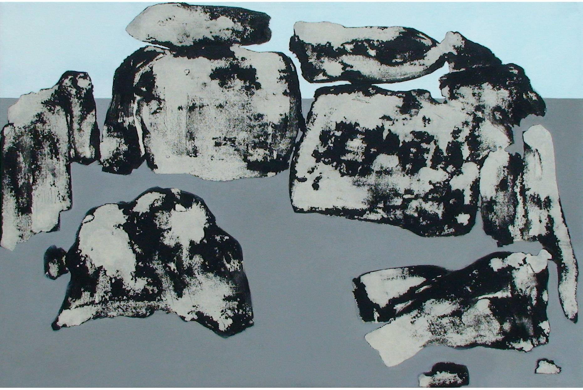 Gefüge VII 2000 Acrylfarbe a/Nessel 60 x 90 cm