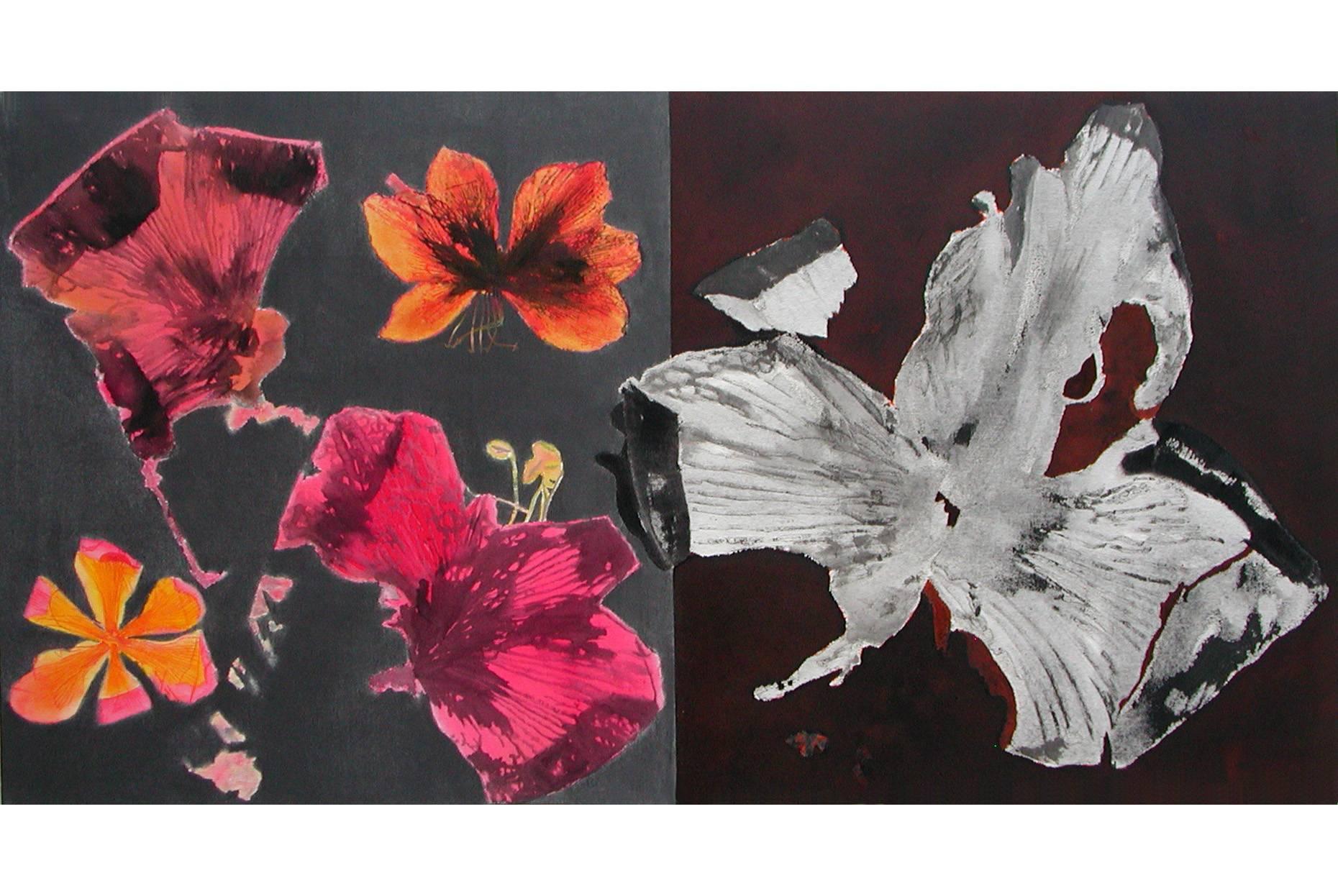 Herbarium I 2002 Aquarell- und Acrylfarbe a/Nessel 90 x 170 cm