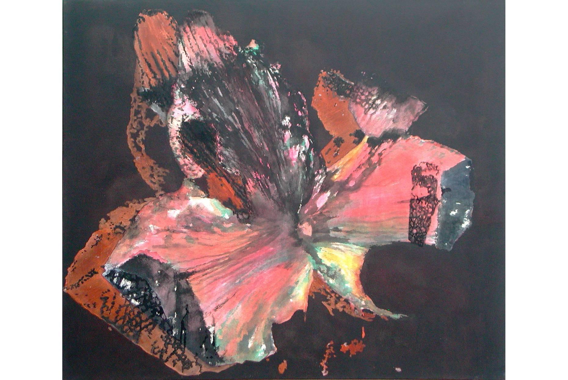Amaryllis geschichtet I 2002 Aquarell- und Acrylfarbe a/Nessel 90 x 105 cm