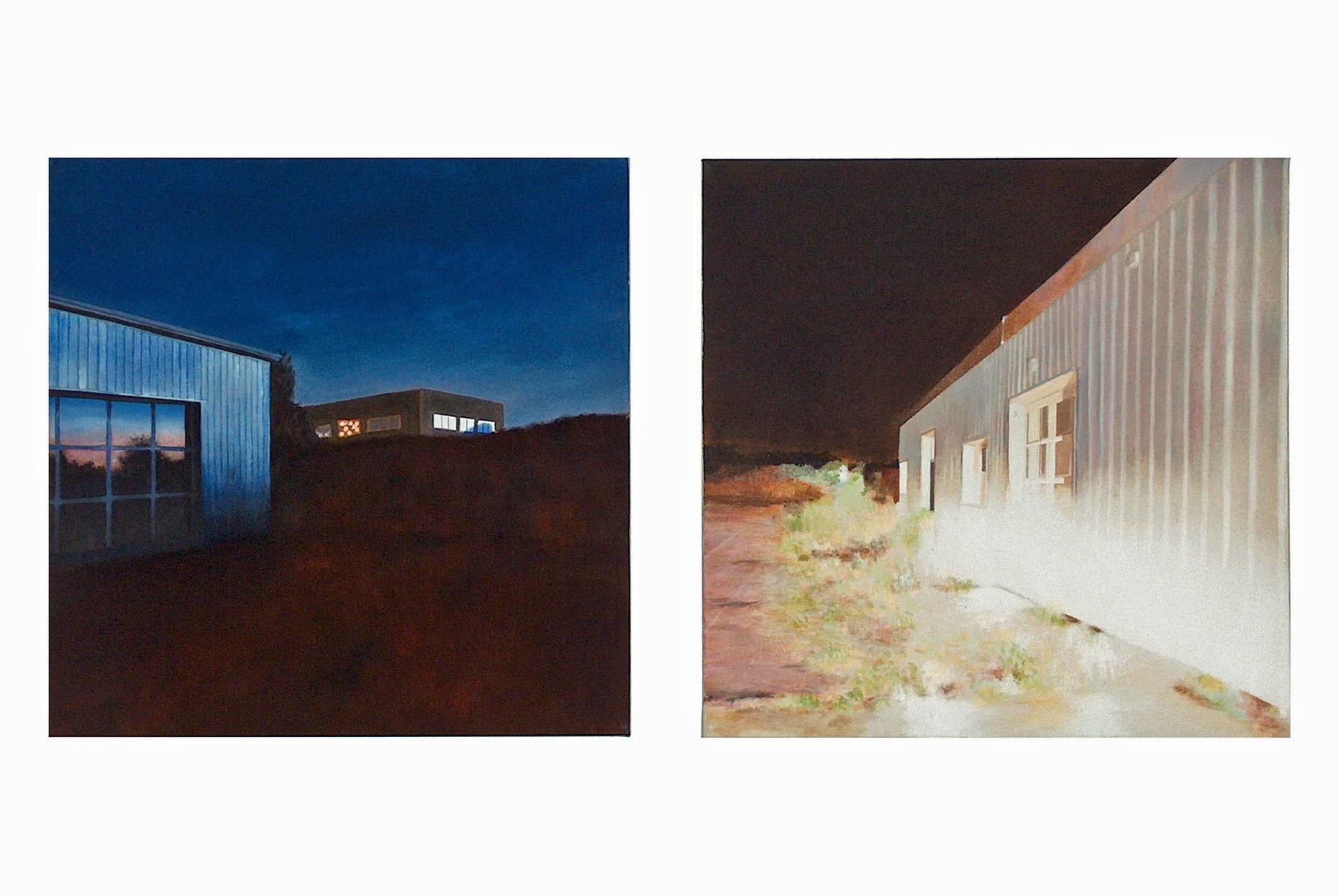 Mondreflexionen + im Spot 2002 Acrylfarbe a/Nessel je 60 x 60 cm