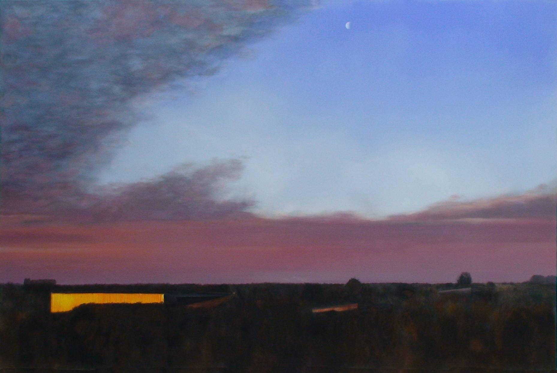 Bild mit Mond 2000 Acrylfarbe a/Nessel 140 x 210 cm