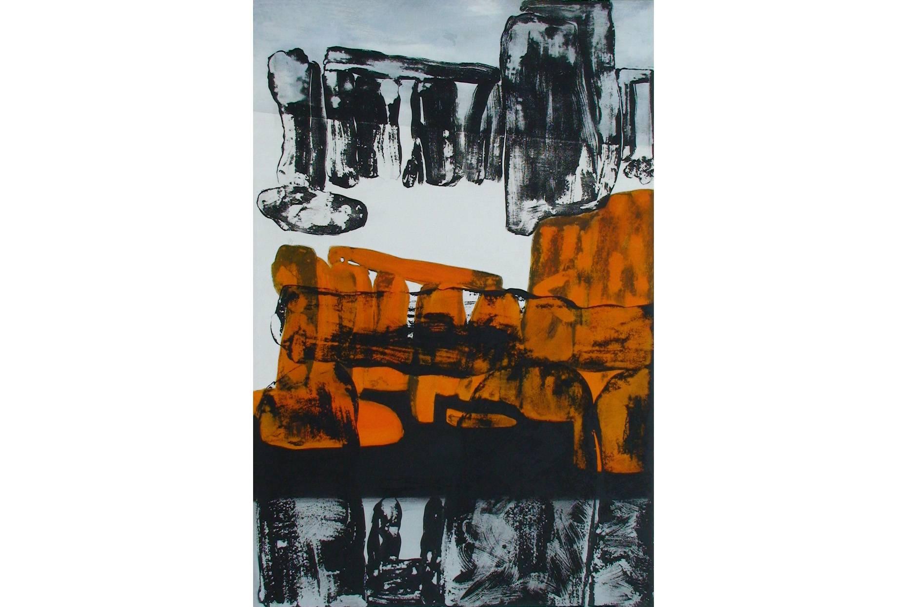 Gefüge XIX 2000 Acrylfarbe a/Nessel 90 x 60 cm