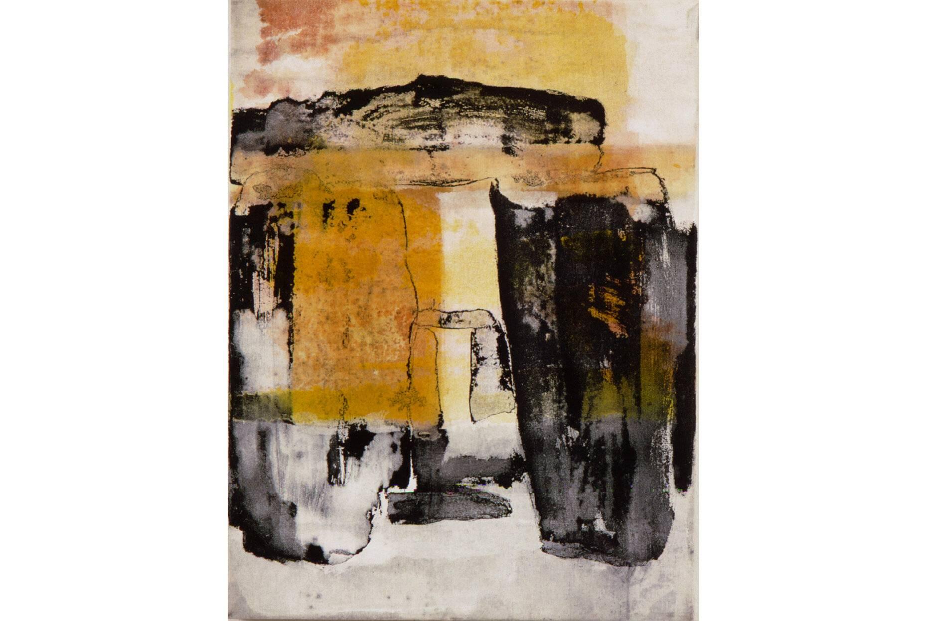 Interieur vorgeschichtlich I 2000 Acrylfarbe a/Nessel 40 x 30 cm