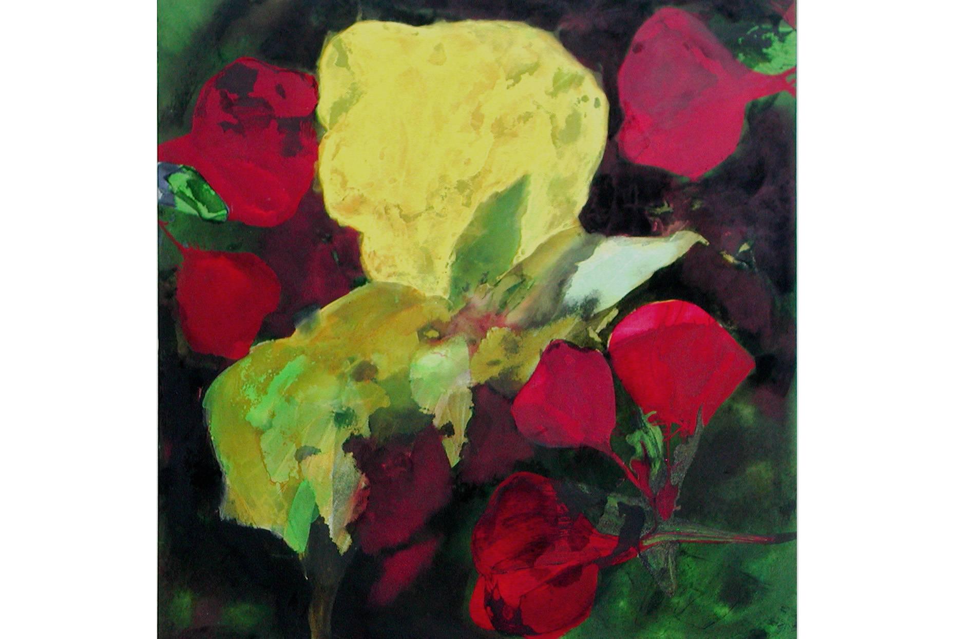 Wicke III 2002 Aquarell- und Acrylfarbe a/Nesse 90 x 90 cm