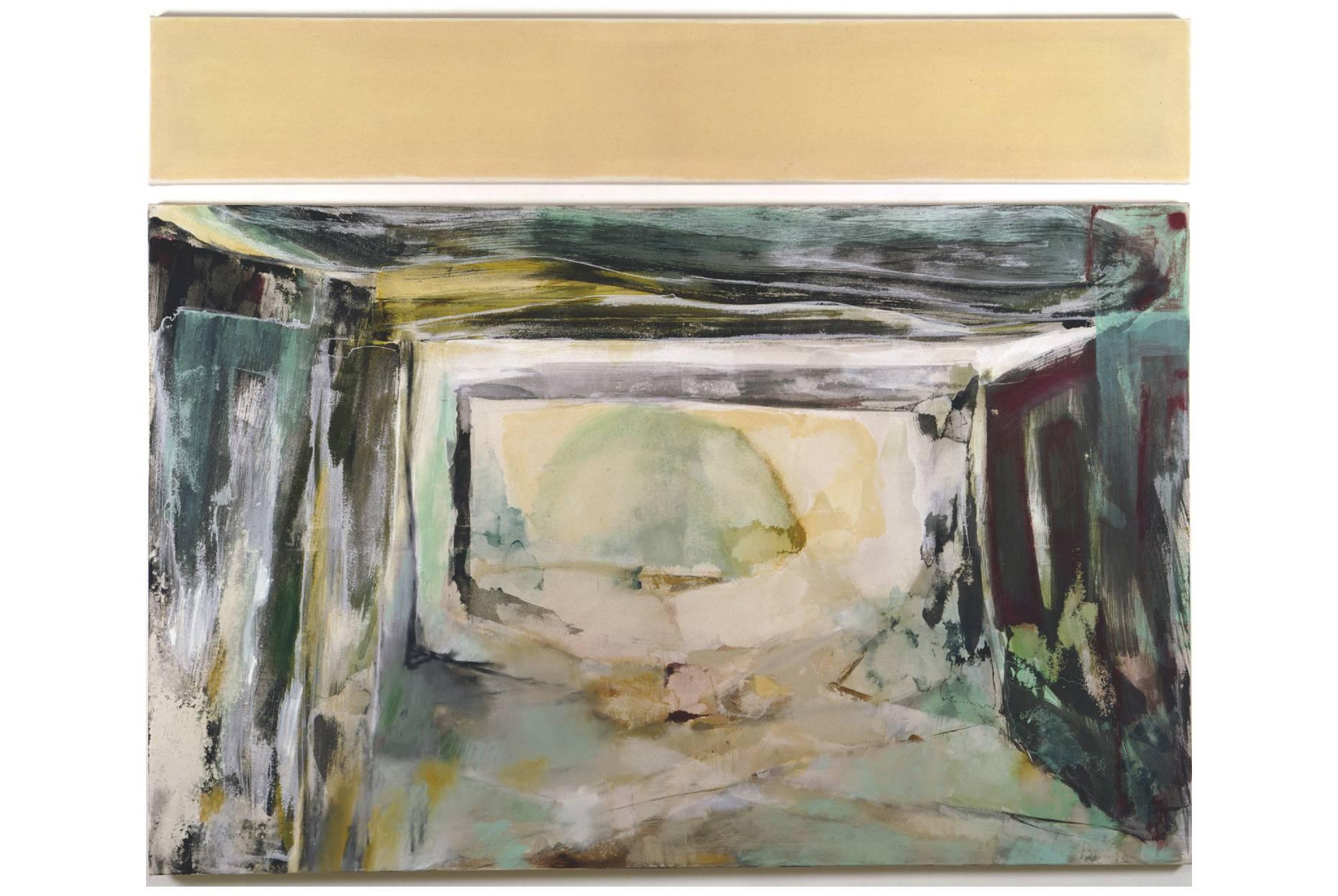 Kernanlage/Innen II 1997 Acrylfarbe und Wachs a/Nessel 2-tlg. zus. 150 x 190 cm