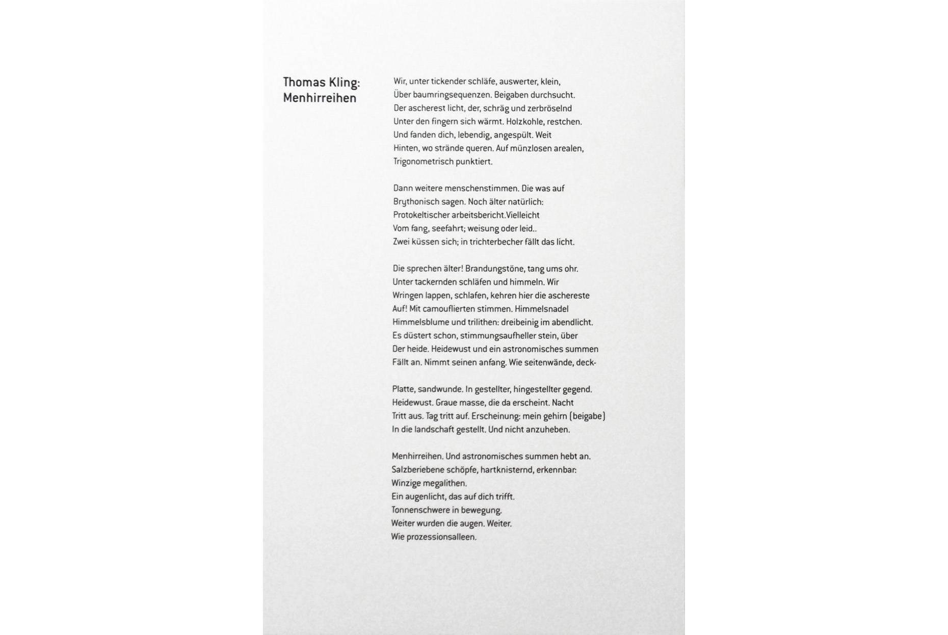 Menhirreihen 1999 Text Thomas Kling verfaßt für das Katalogbuch Anamnese (Copyright) Suhrkamp Verlag Berlin 2020