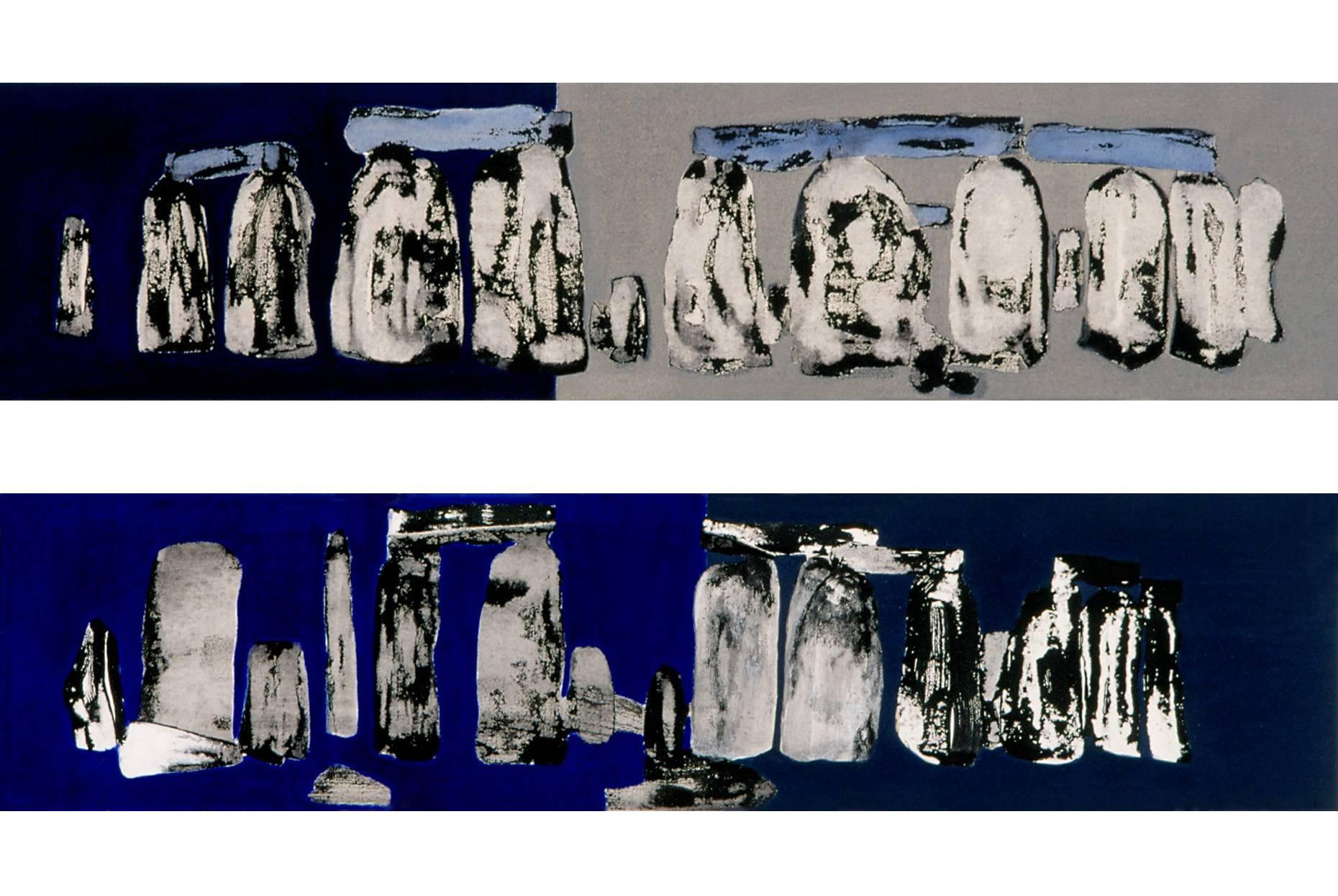 Trilithen I, II 2000 Acrylfarbe a/Nessel je 20 x 90 cm