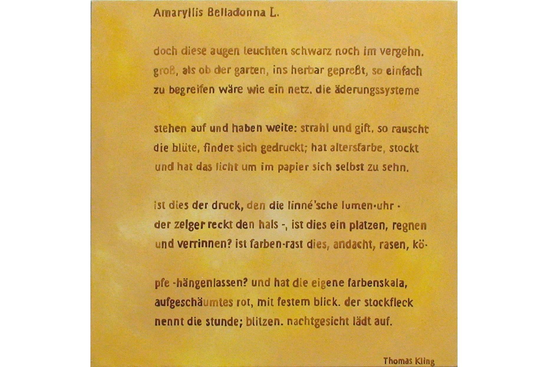 Schriftbild Amaryllis 2006 Acrylfarbe a/Nessel 90 x 90 cm (Copyright)Text Thomas Kling Suhrkamp Verlag Berlin 2020