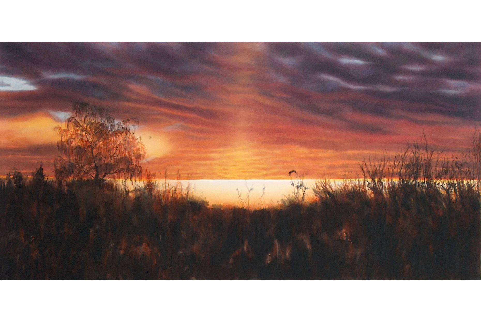 Untergang der romantischen Sonne 2004 Acrylfarbe a/Nessel 160 x 240 cm