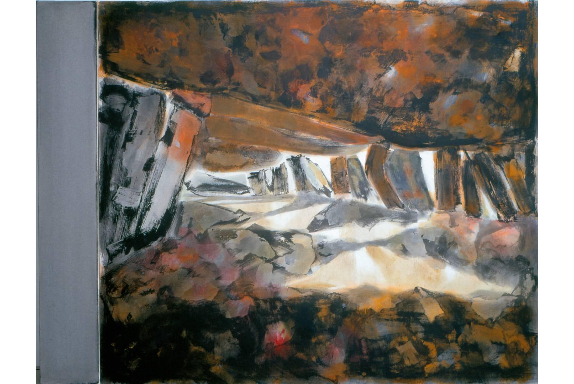 Fundus/Unterbau 2000 Acrylfarbe a/Nessel 2-tlg. zus. 190 x 250 cm