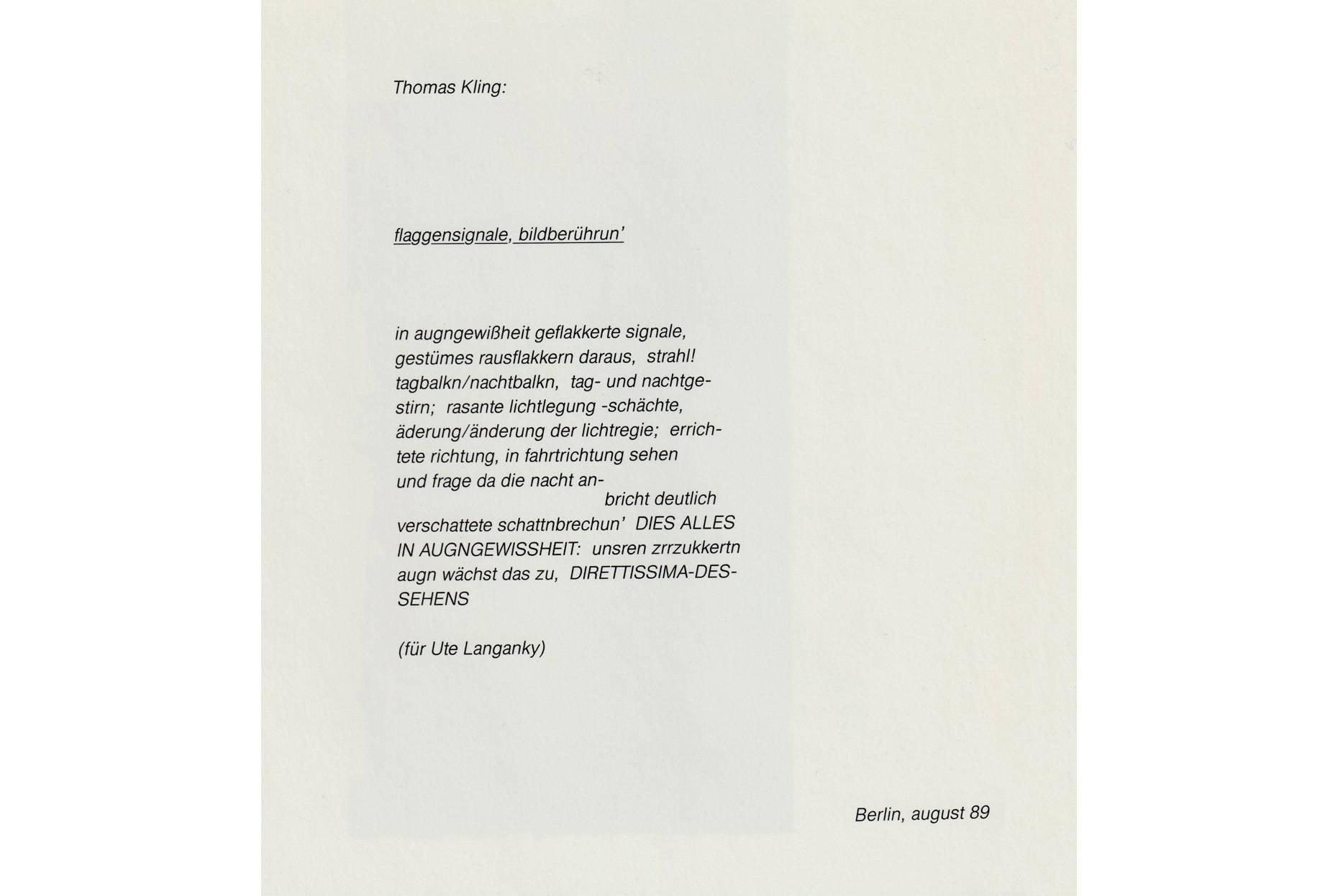 flaggensignale, bildberührun´ Thomas Kling © SuhrkampVerlag AG Berlin 2020