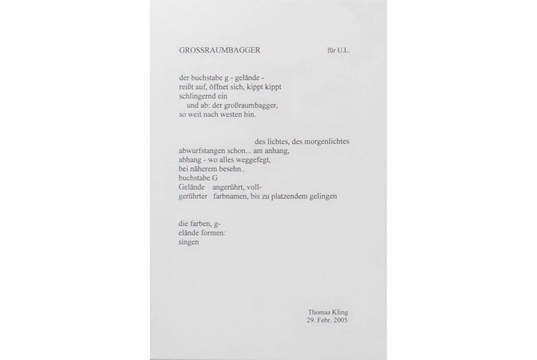 GROSSRAUMBAGGER Thomas Kling © Suhrkamp Verlag AG Berlin 2026