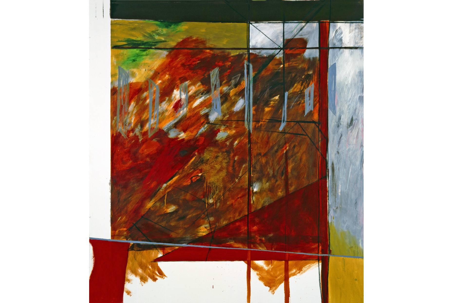o.T. 1989 Pigment Dispersion und Ölfarbe a/Nessel 210 x 190 cm