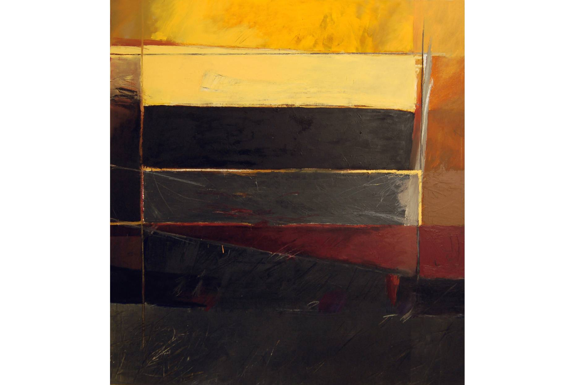 Tableau/unterschiedene Zonen 1990 Ölfarbe a/Nessel 160 x 150 cm