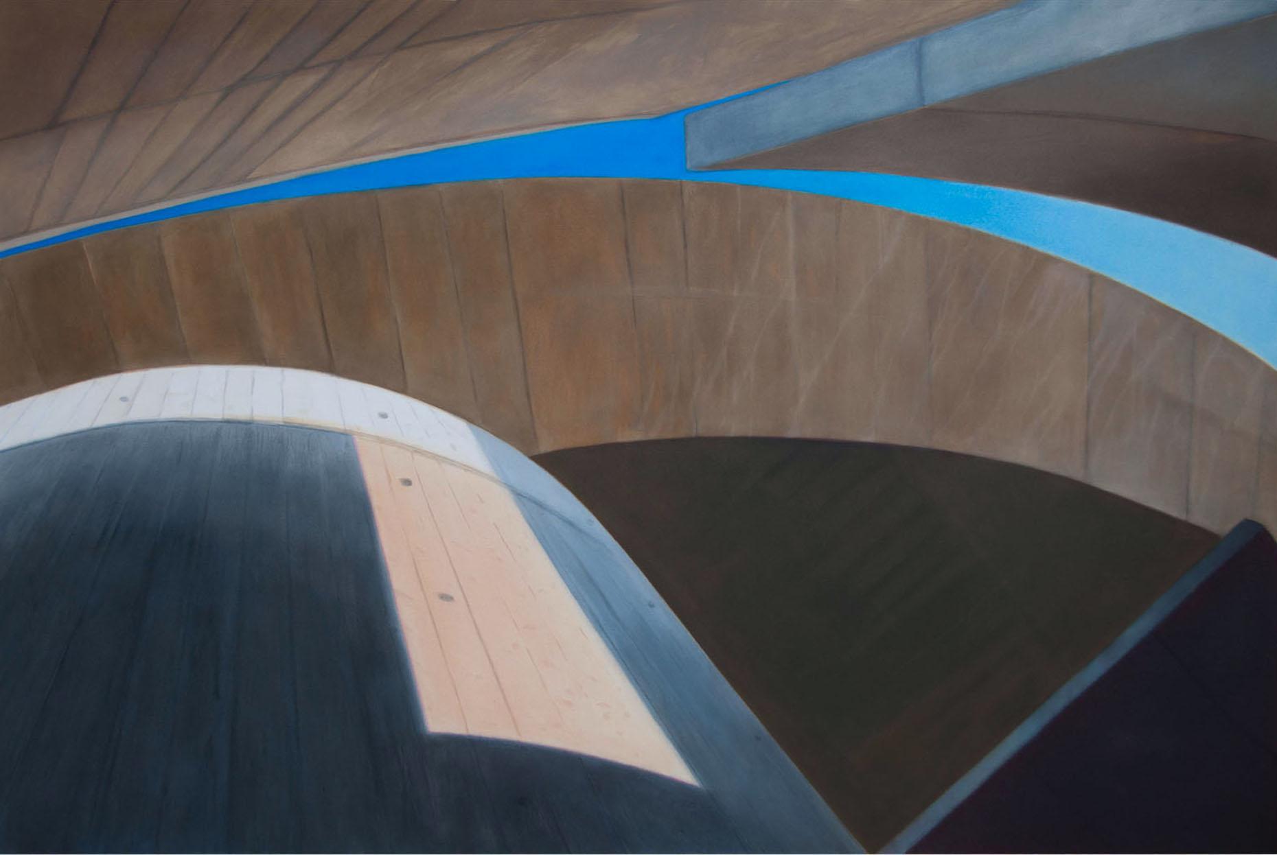 Concrete IV 2017 Aquarell und Kunstaharz a/Nessel 160 x 240 cm
