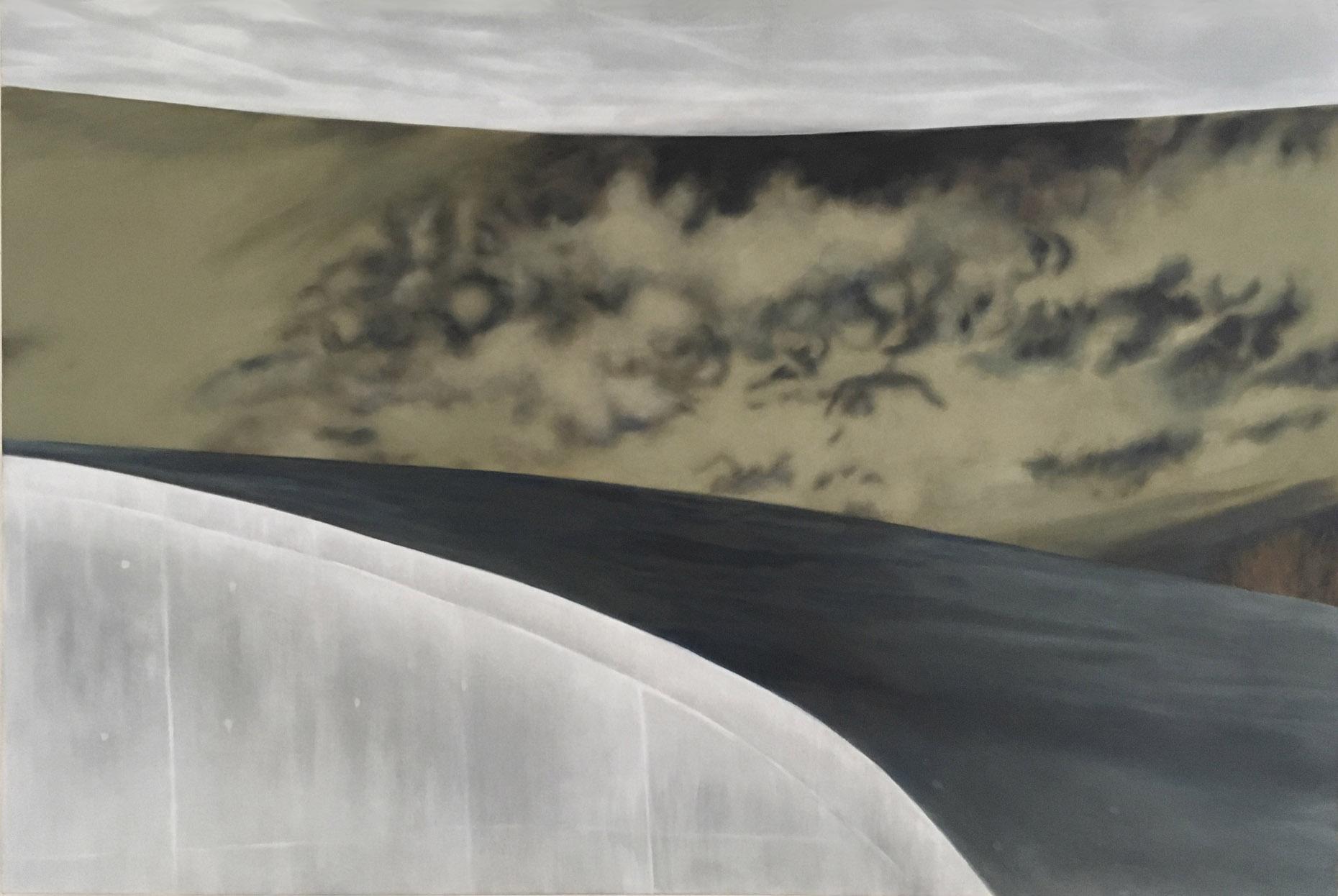 Concrete VI 2019 Aquarell und Kunstharz a/Nessel 100 x 150 cm
