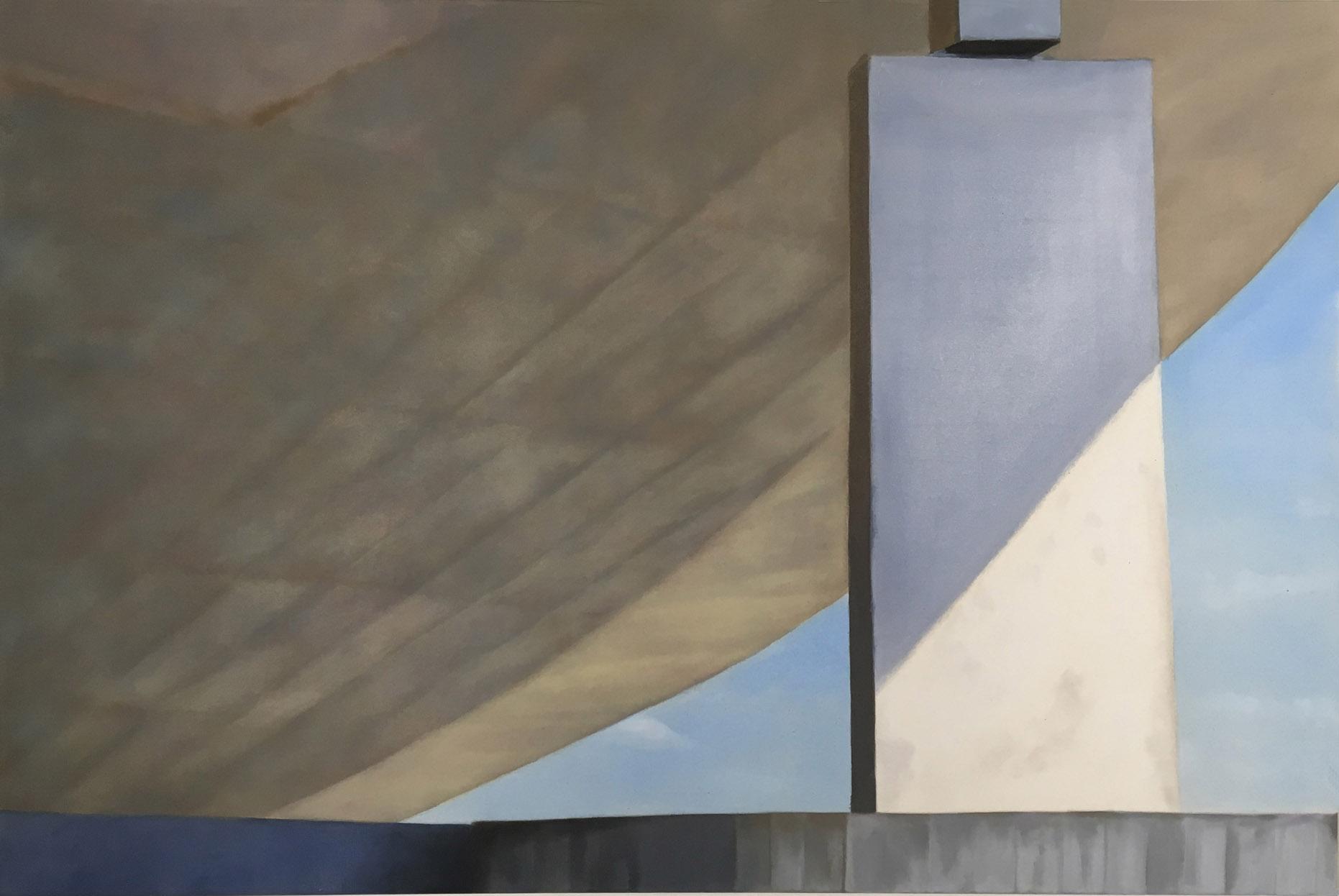 Concrete V 2019 Aquarell und Kunstharz a/ Nessel 100 x 150 cm