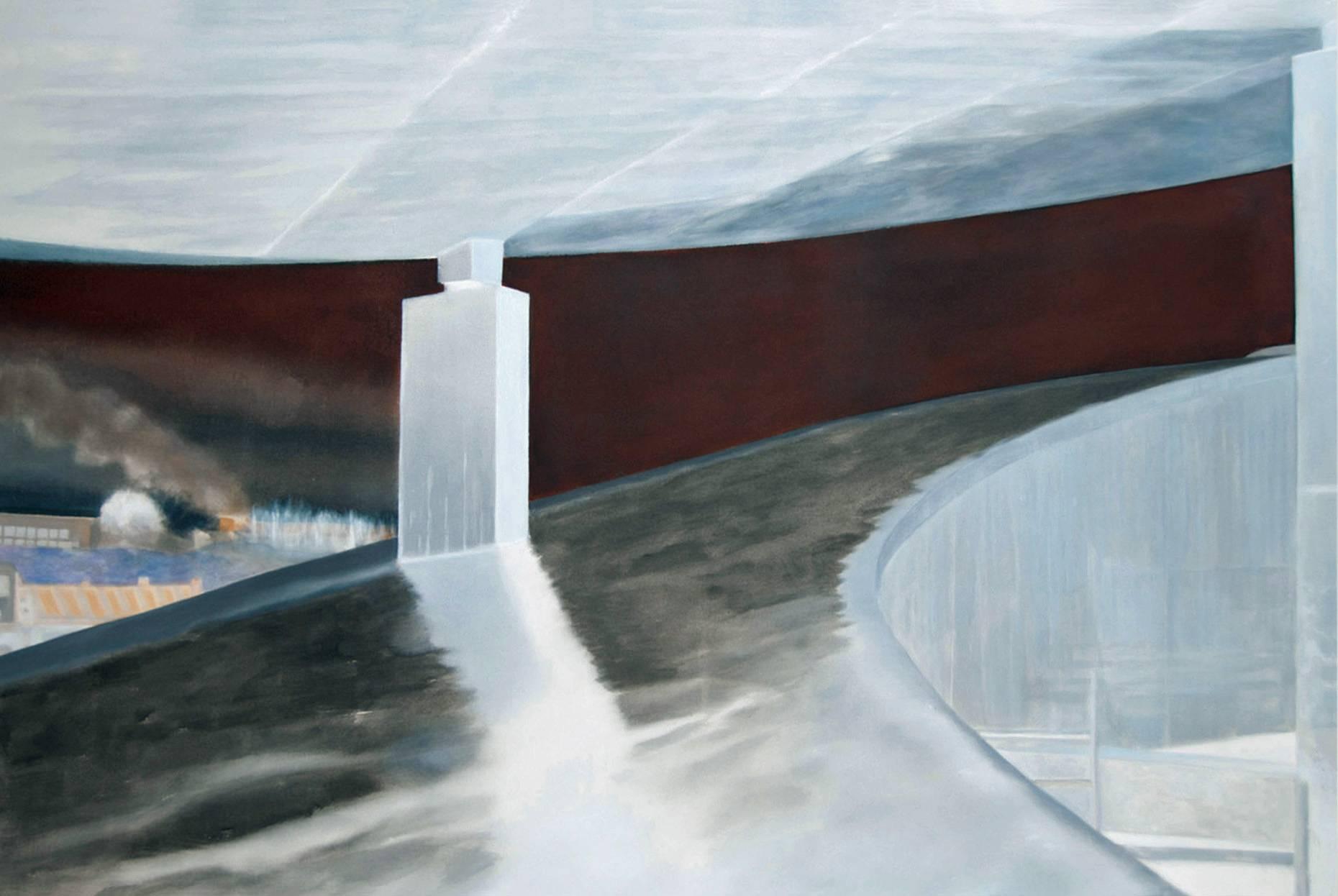 Concrete III 2017 Aquarell und Kunstharz a/Nessel 140 x 210 cm