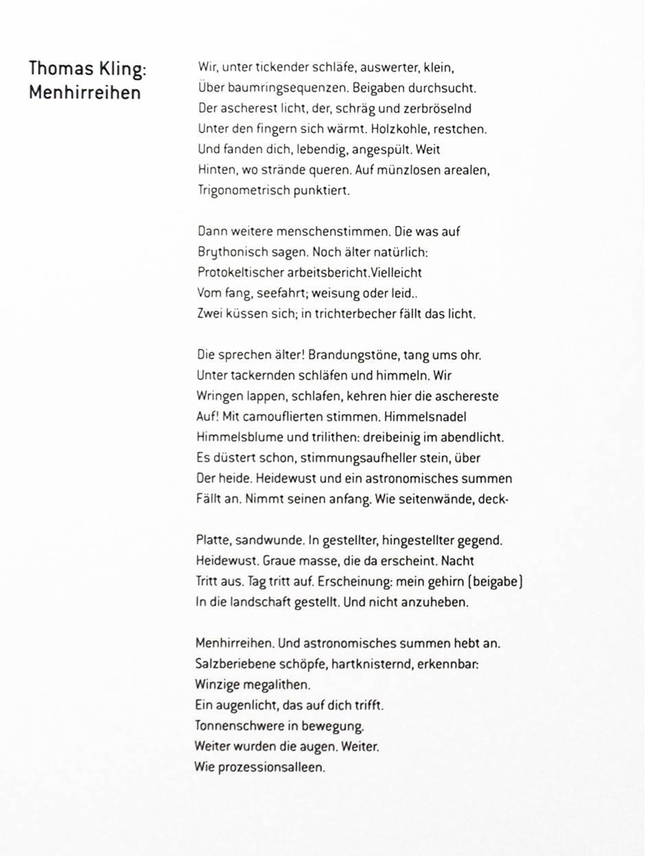 Menhirreihen 1999 Text Thomas Kling verfaßt für das Katalogbuch Anamnese (Copyright) Suhrkamp Verlag AG Berlin 2020